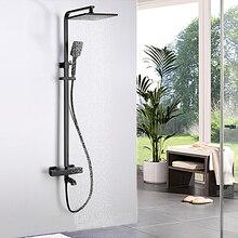 Modern Exposed Shower Faucets Set Black Water Saving Rainfall 10 inch Showerhead Square Bathtub