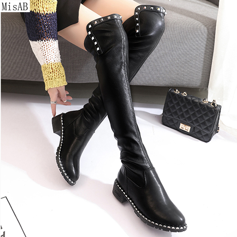 Women Boots Autumn Winter Slim rivet Boots Sexy Over The Knee High Heels Snow Boots Women's Fashion Thigh High Boots Shoes New 2017 sexy thick bottom women s over the knee snow boots leather fashion ladies winter flats shoes woman thigh high long boots