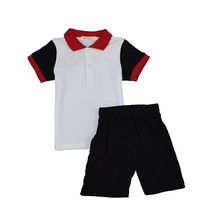 Ladou Boys embroidered Tshirt And Stripe Shorts 2Pieces Clothes Set Kids Outfits