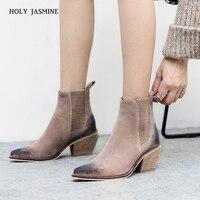 Из натуральной кожи ботильоны для женщин сапоги на высоком каблуке пикантные острый носок 2018 зимняя модная обувь женские botas mujer botte femme