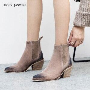 Image 1 - עור אמיתי קרסול מגפי נשים עקב גבוהה מגפיים סקסי הבוהן מחודדת 2020 חורף אופנה נעלי אישה botas mujer botte femme
