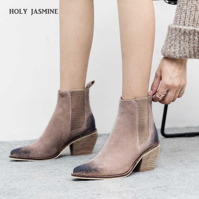 Genuino di Cuoio Della Caviglia stivali per le donne stivali tacco Alto Sexy Scarpe A Punta 2018 di Modo di Inverno scarpe donna botas mujer botte femme
