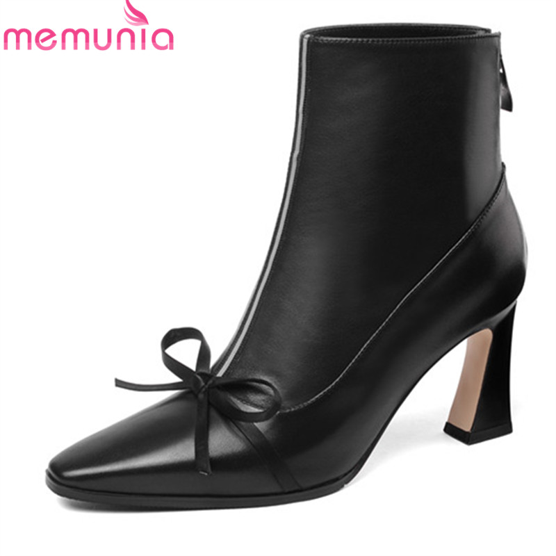 MEMUNIA 2020 top quality suede leather ankle boots for women square toe autumn boots bowknot high
