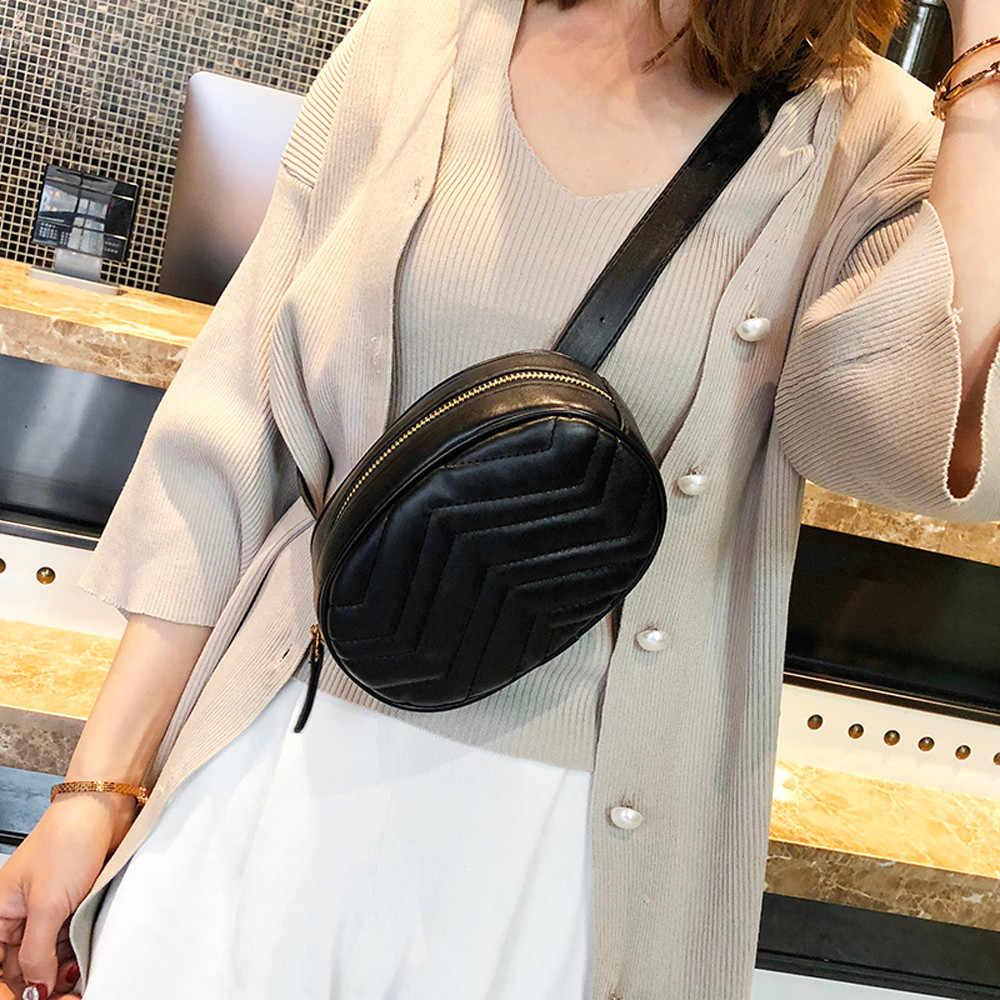 2019 新女性のためのパックウエストバッグ女性ラウンドベルトバッグ高級ブランドのレザー胸ハンドバッグベージュ新ファッション高品質