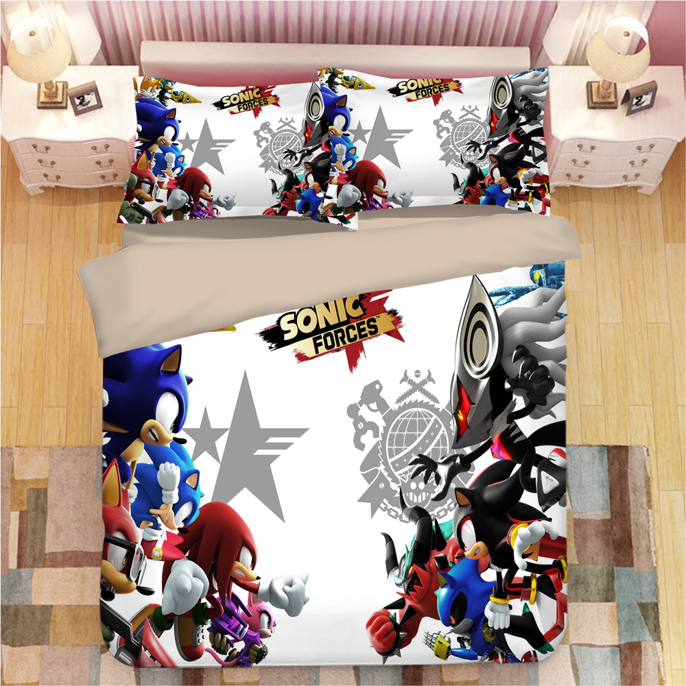 Image 3 - Sonic The Hedgehog Bedding Set Super Mario Bros Duvet Covers Pillowcases Twin Full Queen King Comforter Bedding Sets Bed Linen-in Bedding Sets from Home & Garden