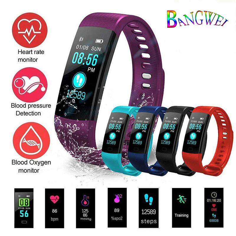 BANGWEI New Sport Watch Men Women LED Waterproof Smart Wristband Heart Rate Blood Pressure Pedometer Clock For Android ios