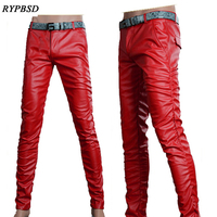 6 Colors Leather Trousers Men 2018 Mens Pants Leather Fashion High Quality PU Material Zipper Skinny Faux Leather Pants for Men