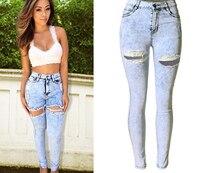 Большой размер женщины снег синий разорвал отверстие узкие полная длина джинсовые брюки мода сексуальная высокая талия проблемные длинные брюки джинсы
