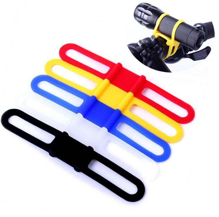 5Pcs Bicycle Torch Flashlight Universal Elastic Strap Handle Bar Holder Mount