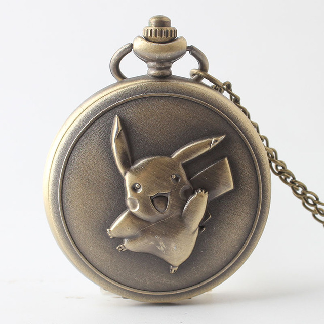 Vintage Pocket Watch Men Stylish Reloj De Bolsillo Pikachu Catoon Dial Pocketwatch Quartz Watch For Men Chain Vacation Gift