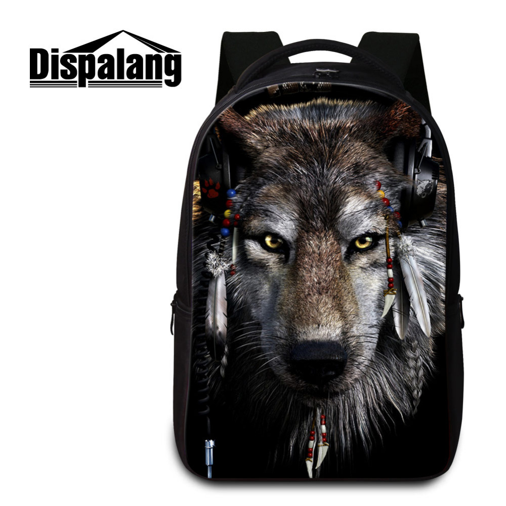 Dispalang Mens Backbag 3D Animal Wolf Printing Laptop Backpack Students School Bags for Teenagers Children's Laptop Shoulder Bag