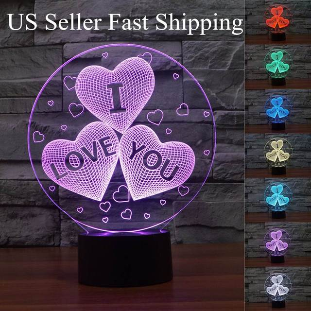 3D Round Love Heart Shaped LED Touch Sensor Switch Colorful Night Light  Desk Table Book Lamp Good Looking