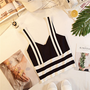 Image 3 - קיץ נשים אופנה סריגה פס טנק יבול חולצות נקבה סרוג נמתח קצוץ חולצה לא קצר שרוולים חולצות