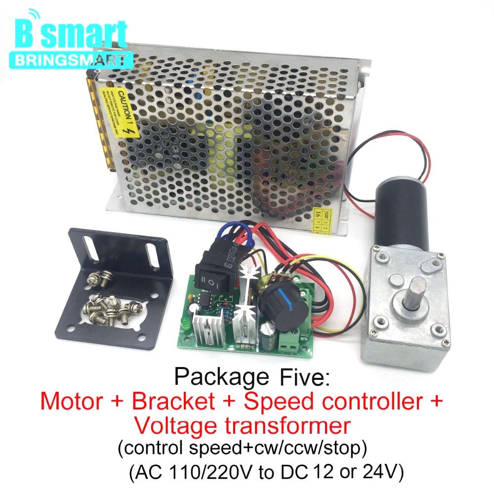 Bringsmart DC Motor 12V Gear Electric Motors 24 volt Reducer Micro Motor High Torque 70kg.cm Worn Gearmotor + Speed ControllerDC Motor   -