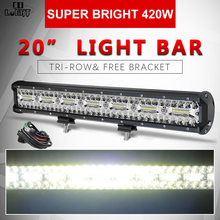 CO LIGHT 20 inch 3 Rows 4x4 LED Bar 420W 7D Combo Work Light for Tractors Boat Offroad 4WD Truck SUV ATV Driving 12V 24V