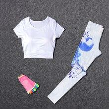 цена на Women Sport Suit Yoga Fitness Sets Sport Wear Running Leggings Sport T-shirt+Yoga socks+ Workout Gym Pants 3Pcs/set Sportswear