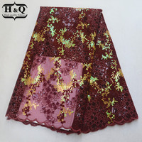 Newest Design Fashion Ladies Bling Long Lace 2019 French Tulle Lace Sequins African Organza Lace Fabric With Stones For Party