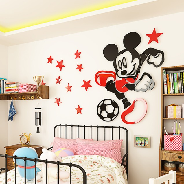 US $17.86 37% OFF|3D Cartoon Wall stickers Mickey Acrylic Stickers for  living room Children\'s bedroom wall decor sticker wallpaper DIY Home  Decals-in ...