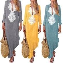 цены на MoYan Summer Boho dress Long Maxi Dress Long Sleeve V-neck Women Dress Clothes Loose Ladies Party Summer Casual Beach Sundress в интернет-магазинах