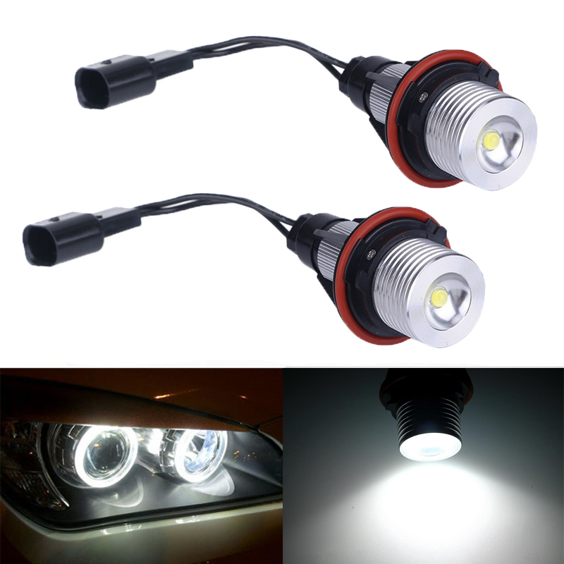 2Pcs 3w led angel eyes For bmw e39 6000K White  LED Light Lamp Bulb For BMW E39 E53 E60 E61 E63 E64 E65 E66 X5 e cap aluminum 16v 22 2200uf electrolytic capacitors pack for diy project white 9 x 10 pcs