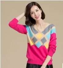 Genuine Free Shipping New Hedging Round Neck Cashmere Sweater Diamond Lattice Slim Female Short-Sleeved Pullover Shirt Bottoming