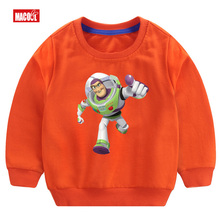 Boys orange Long Sleeve Pullover Tops Play toy story camiseta  Boy/girl Breathable Comfort Funny