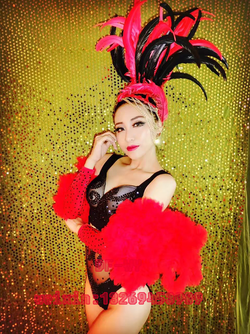New bar club dance dress sexy black female singer star ds bright drill fascinator red coat combination suit for party stage perf