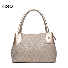 GSQ Hot Luxury Leather Women Bag Promotion Famous Brand Designer Zipper Style Champagne Lady Handbag High Quality Leather Tote
