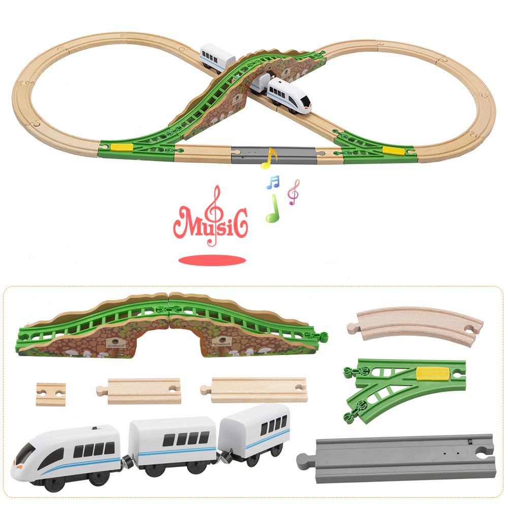 TBKJOYS Electric Wooden Train  Music Tracks Set Railway Track Layouts Collectible Toy Railway Accessories Compatible