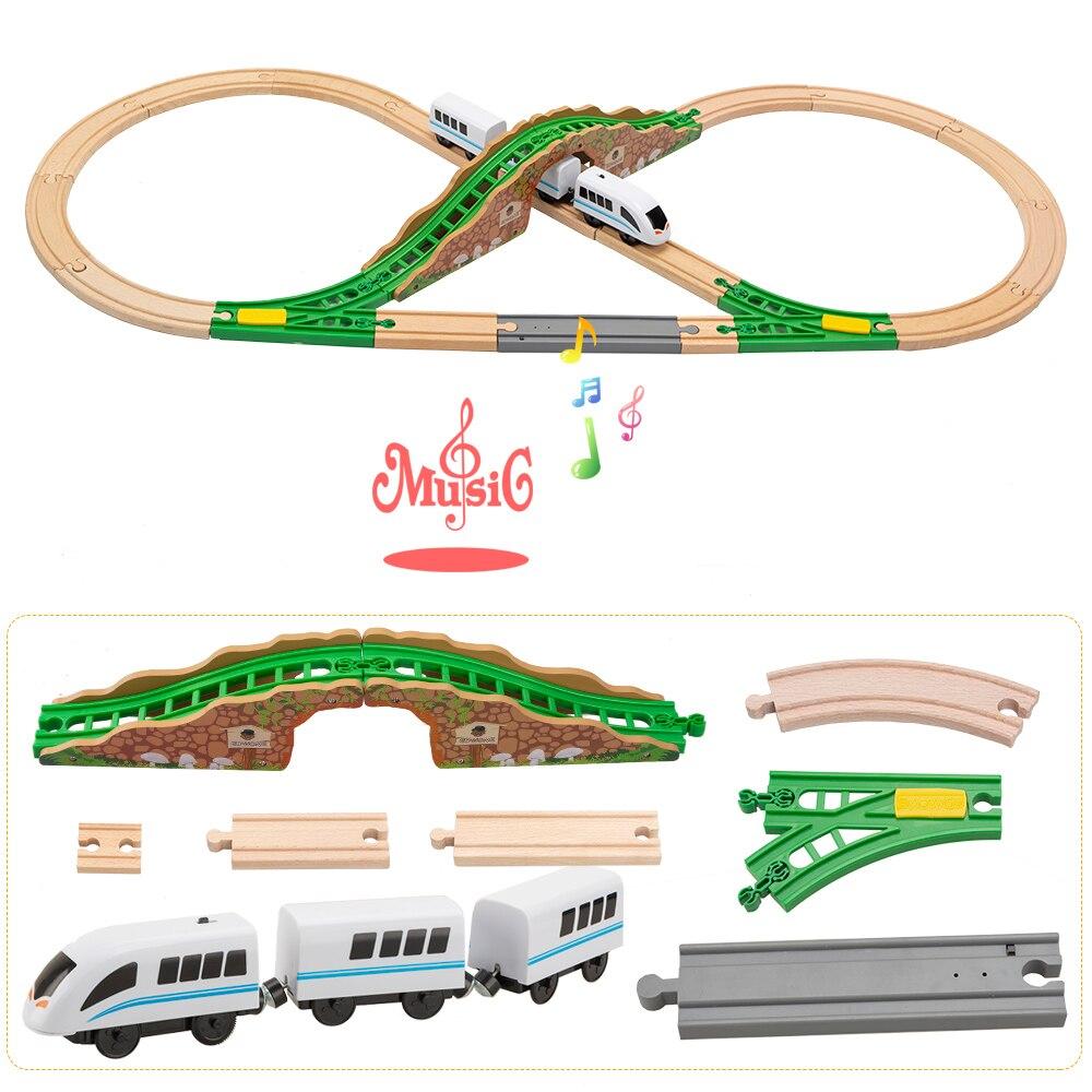 Tbkjoy électrique Train en bois musique pistes ensemble chemin de fer dispositions à collectionner jouet ferroviaire accessoires compatibles