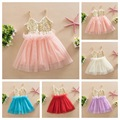 Sweet Kids Girls Tutu Sequins Dress Sundress Multi Candy Color Princess Party Dress Halter V Neck Dress