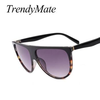 2017 Brand Designer Women Retro Flat Top Sunglasses Vintage Acetate Shaded Lens Thin Shadow Glasses Men Oculos De Sol 744M 3