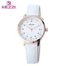 KEZZI Классические Черный И Белый Кожаный Кварцевые Часы Бренд Женщин Любителей Часы Случайные Часы Relógio Feminino Подарок Часы Дамы