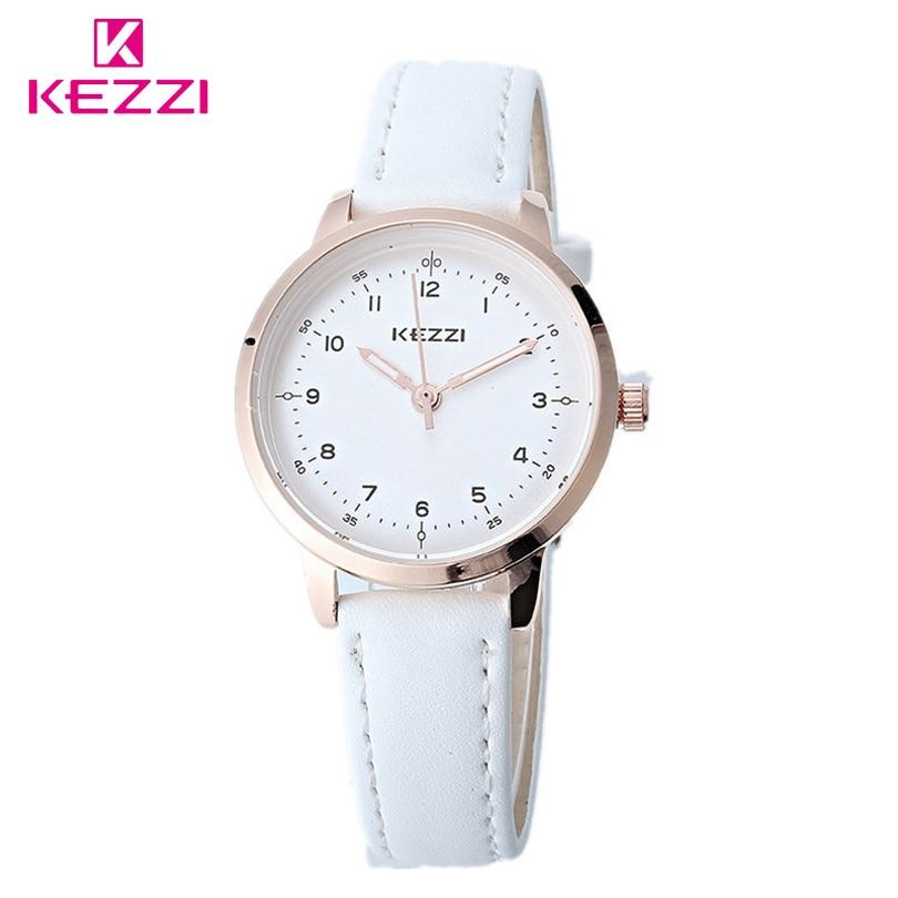 KEZZI Classic Black And White Leather Quartz Watch Brand Women Watches Lovers Casual Watches Relogio Feminino Gift Clocks Ladies