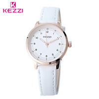 KEZZI Classic Black And White Leather Quartz Watch Brand Women Watches Lovers Casual Watches Relogio Feminino