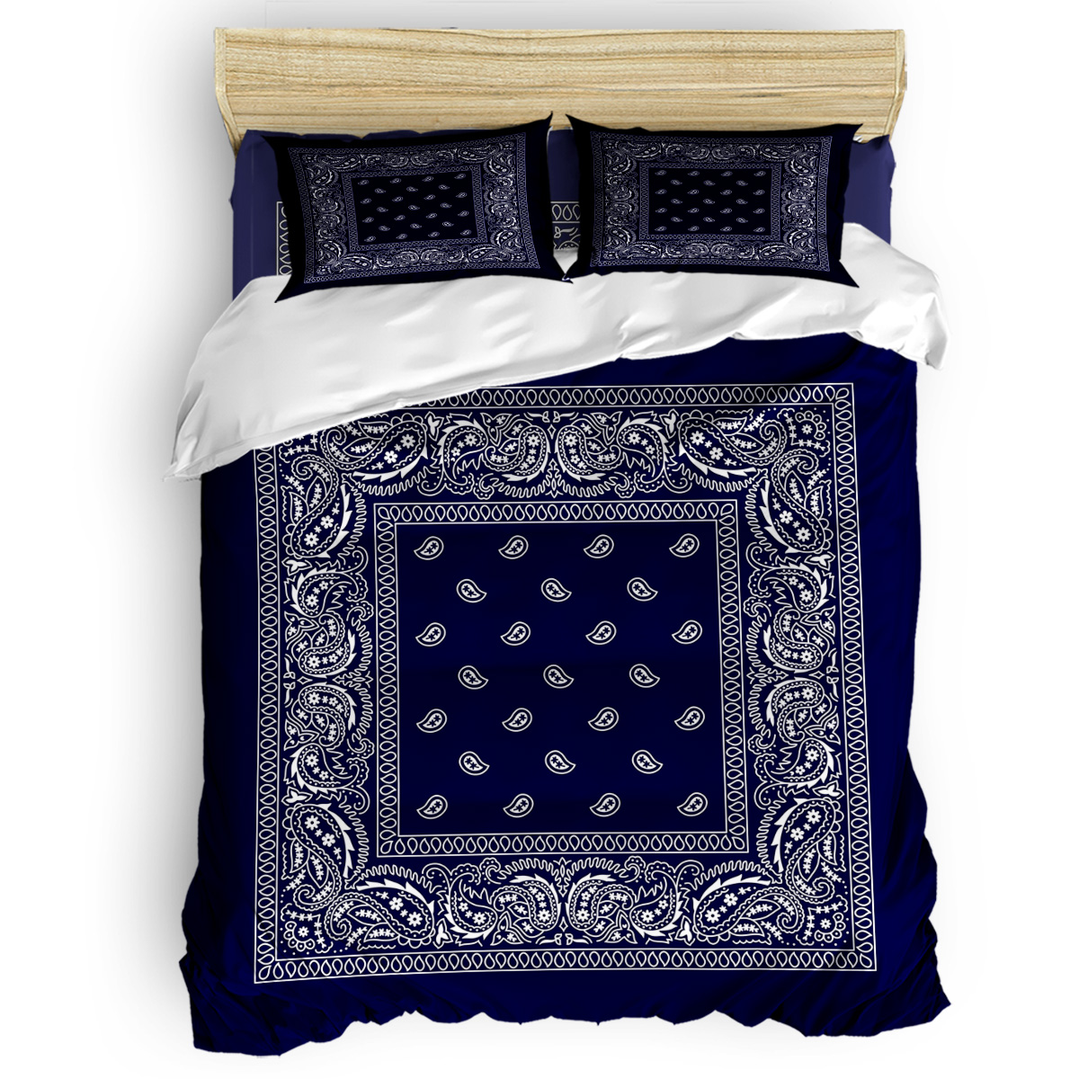 Bandana Navy Blue Southwestern Duvet Cover Cotton King Size Queen Size Quilt Cover Set Bedclothes Comforter Single Bedding Sets