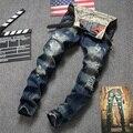 American Style europeu 2016 marca de moda Homens de qualidade de luxo casual denim jeans calças Retas azul pop slim calças de brim Do Vintage