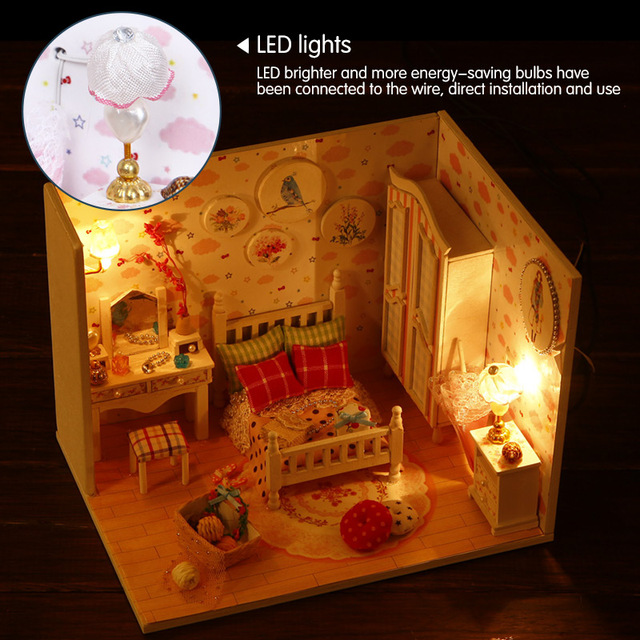 New Girl DIY 3D Wooden Mini Dollhouse Doll House Furniture Educational Toys Furniture For Children Sweet Star Dream
