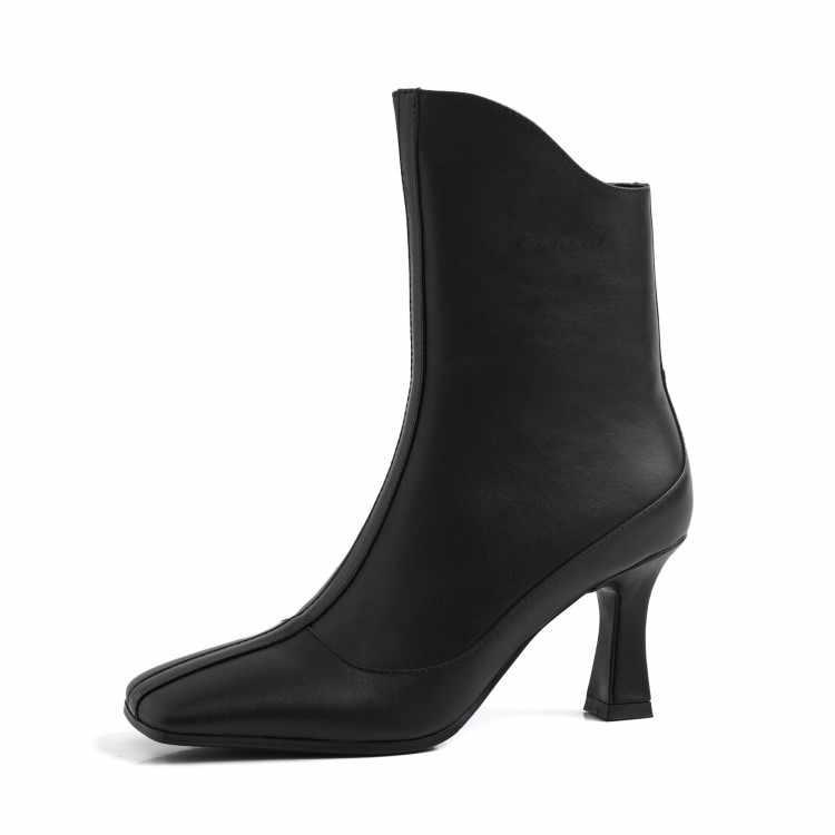 MLJUESE 2020 kadın yarım çizmeler inek deri kare ayak lace up kış kısa peluş yüksek topuklu çizmeler kadın botları parti boyutu 40