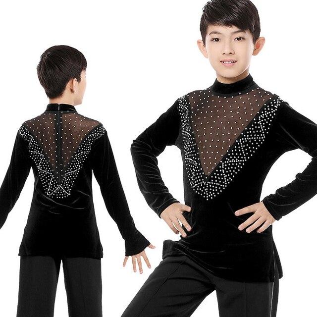 Children Boys New Ballroom Latin Dance Tops Professional Long Sleeves Diamond Practice Clothes Kids Cha Cha Dancing Tops