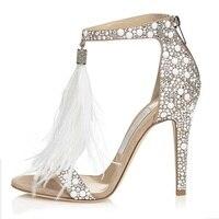 Bling Bling Bạc Pha Lê Tôn Tạo Dress Sandals Trắng Feather Fringe Cưới Cao Gót Giày Shining Rhinestone Sandal