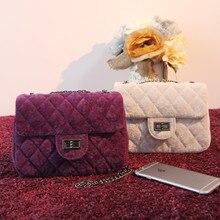 Neue Mode Samt stoff messenger kette taschen, marke desinger rautenförmige tasche frauen mini Tote handtasche winter handtasche 7 farbe