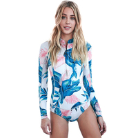 2017 Print Floral One Piece Swimsuit Long Sleeve Swimwear Women Bathing Suit Retro Swimsuit Vintage One