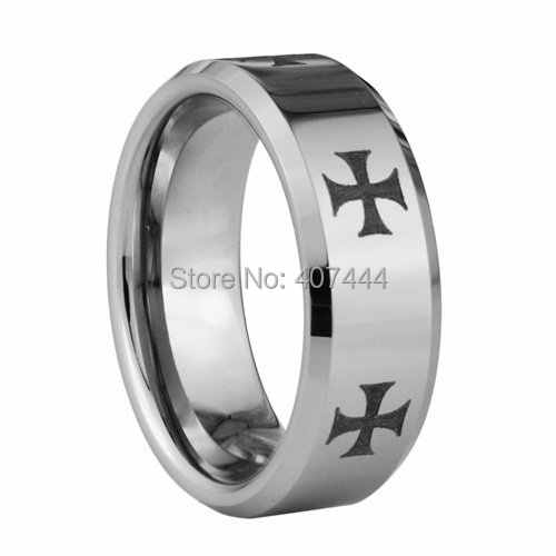 Free Shipping YGK JEWELRY Supernova Sale 8MM Men's Comfort Fit Crosses Silver Beveled Tungsten Wedding Rings