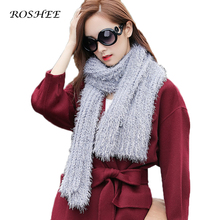 Фотография Women Knit Shawls Winter Warm Scarf Luxury Brand Soft Fashion Thicken Solid Wraps Wool Capes Scarves knitted Candy Colors Scarf