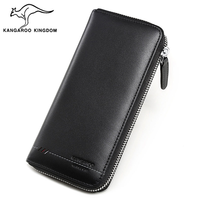 KANGAROO KINGDOM luxury brand men wallets genuine leather long zipper clutch purse card holder phone wallet 2017 woman wallets luxury design high quality genuine leather famous brand card holder men long wallet purse clutch