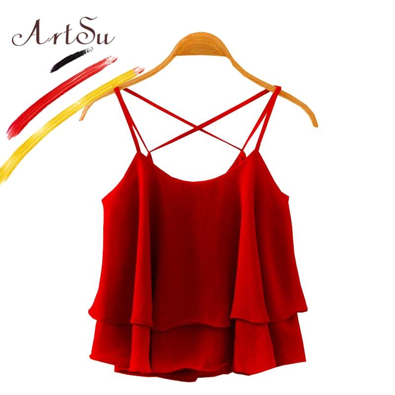 ArtSu 2018 Plain Wine Red Spaghetti Strap Chiffon Camisa Camisole Tank Top Women Summer Ruffles Casual Tops Blusa Black Green