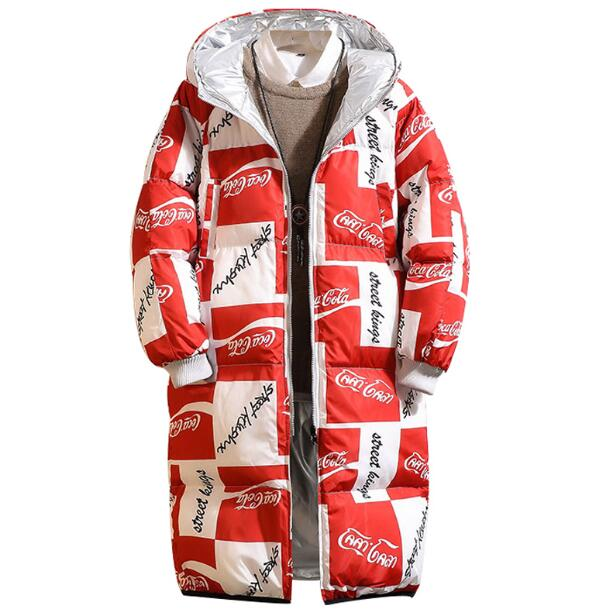 Men's clothing on both sides wear letter cotton padded jacket male plus fertilizer XL thick long hooded jacket loose fat winter
