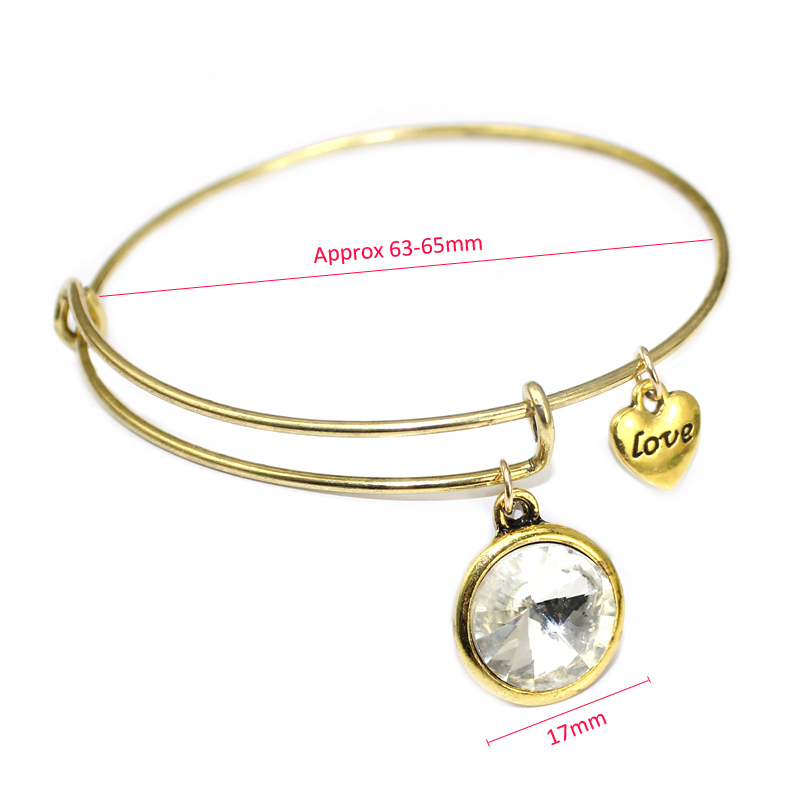 Mode 12 Birthstone Charm Armband Verstellbare Gold Expandable Wire - Modeschmuck - Foto 4