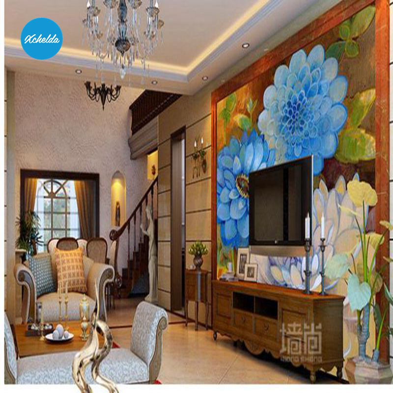 XCHELDA Custom 3D Wallpaper Design Blue Flower Photo Kitchen Bedroom Living Room Wall Murals Papel De Parede Para Quarto kalameng custom 3d wallpaper design street flower photo kitchen bedroom living room wall murals papel de parede para quarto